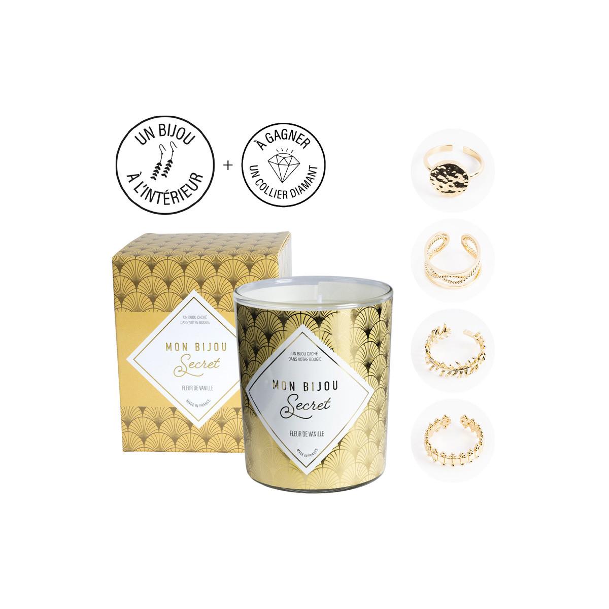 Kerze mit Goldener Ring | Vanille