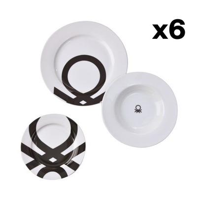 18er-Set Geschirr Schwarz&Weiß Be