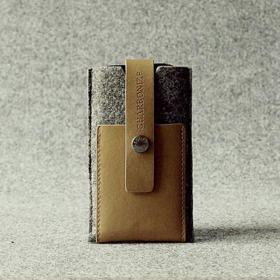 Khaki & Granite Leather iPhone Wallet