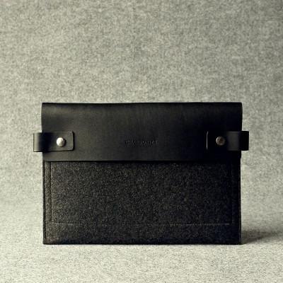Black & Charcoal Leather Ipad Sleeve