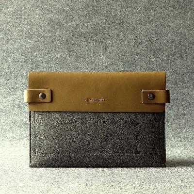 Khaki & Granite Leather Ipad Sleeve