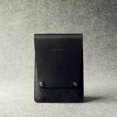 Black & Charcoal Leather Ipad Mini Sleeve