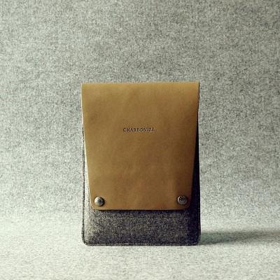 Khaki & Granite Leather Ipad Mini Sleeve