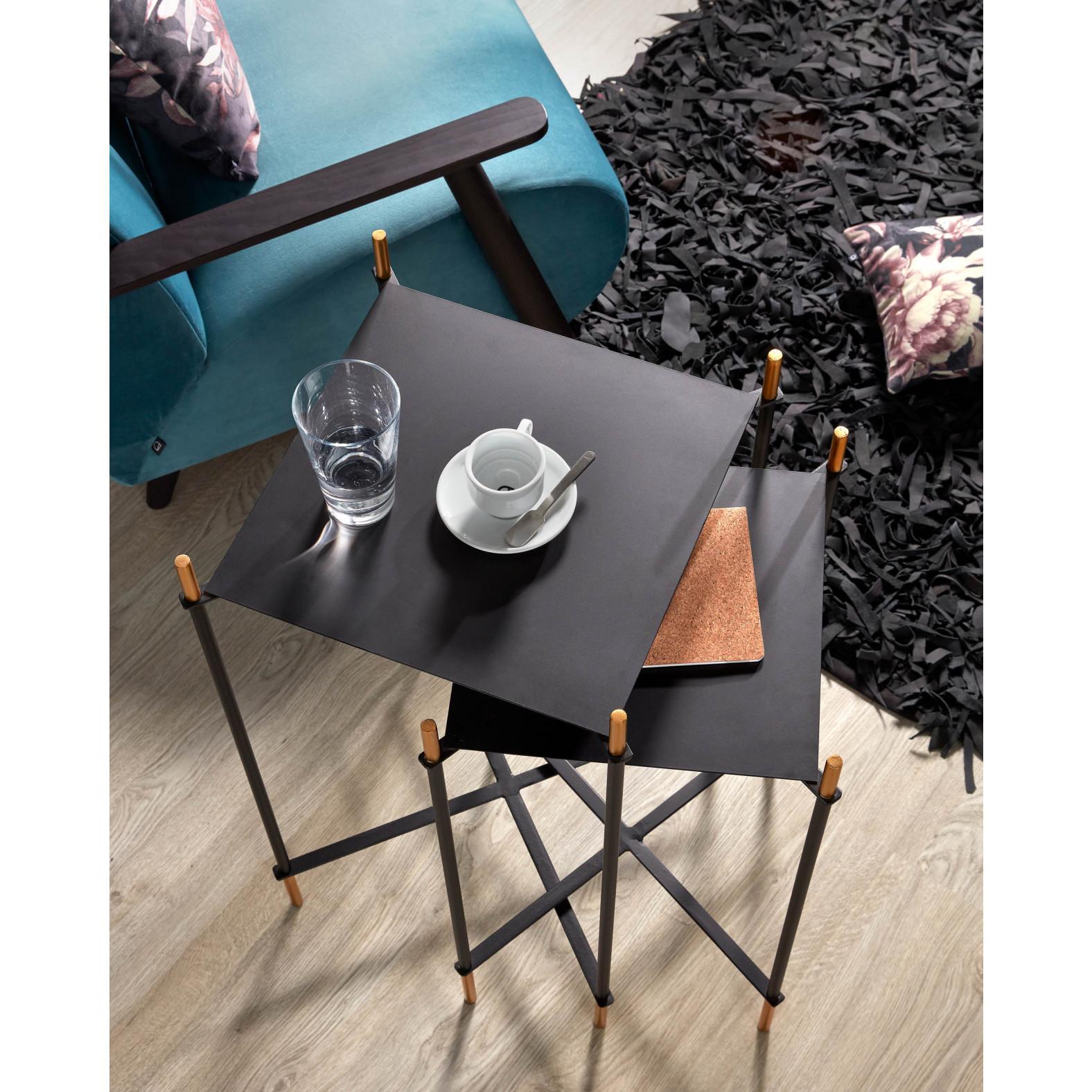 Set of 2 Side Tables Dagnen | Black