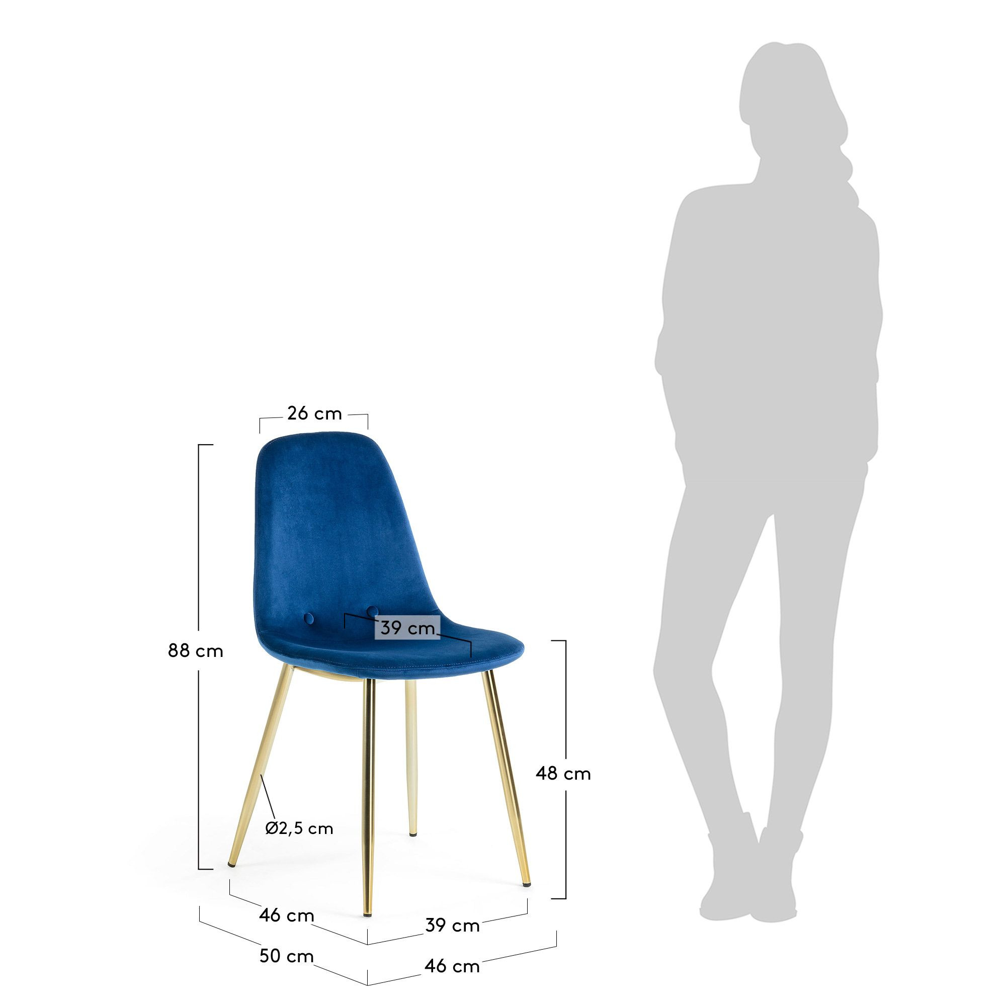 Chaise Yara   Bleu & Or