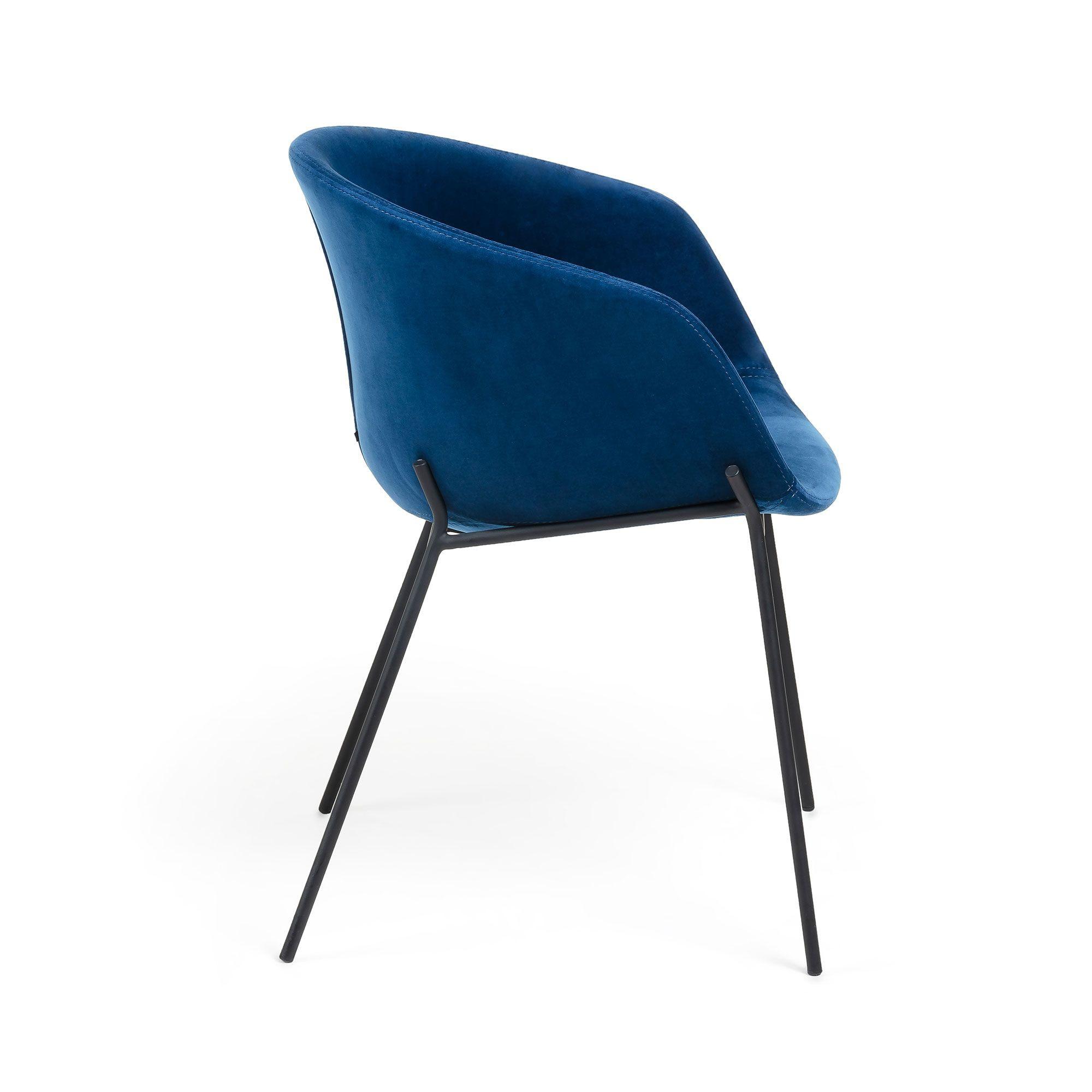 Chaise Vic Velours   Bleu Foncé