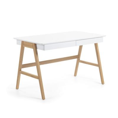Schreibtisch Dyana   Weiß & Helles Holz