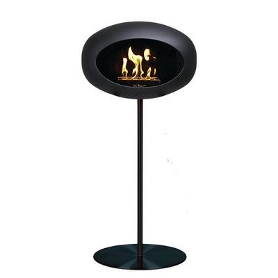 Bio Fireplace Ground Steel Black 80 cm | Black Pole & Black Plate