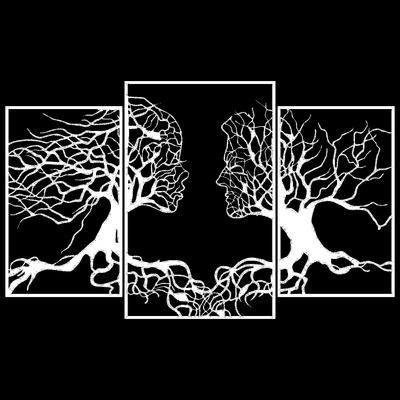 Dekoratives Wandzubehör aus Metall Love Tree l Schwarz