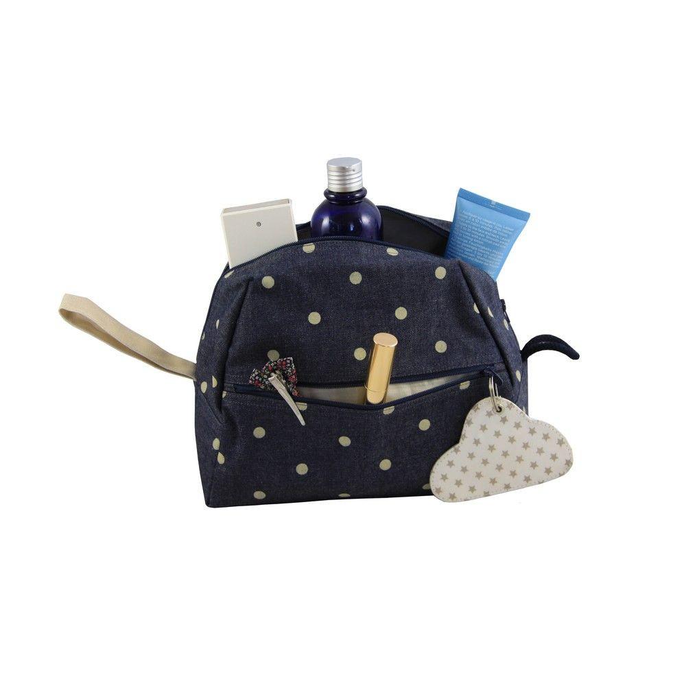 Céleste Wash Bag   Denim/Polkadot