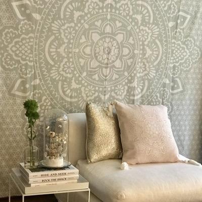 "Wandteppich Heiliges Mandala   Khaki 230 x 230 cm 90.5"""