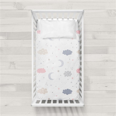 MaxiCrib Bettbezug Moon I Weiß 115x145 + 40x60 cm