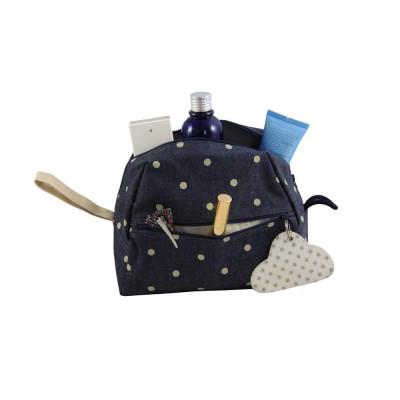 Céleste Wash Bag | Denim/Polkadot