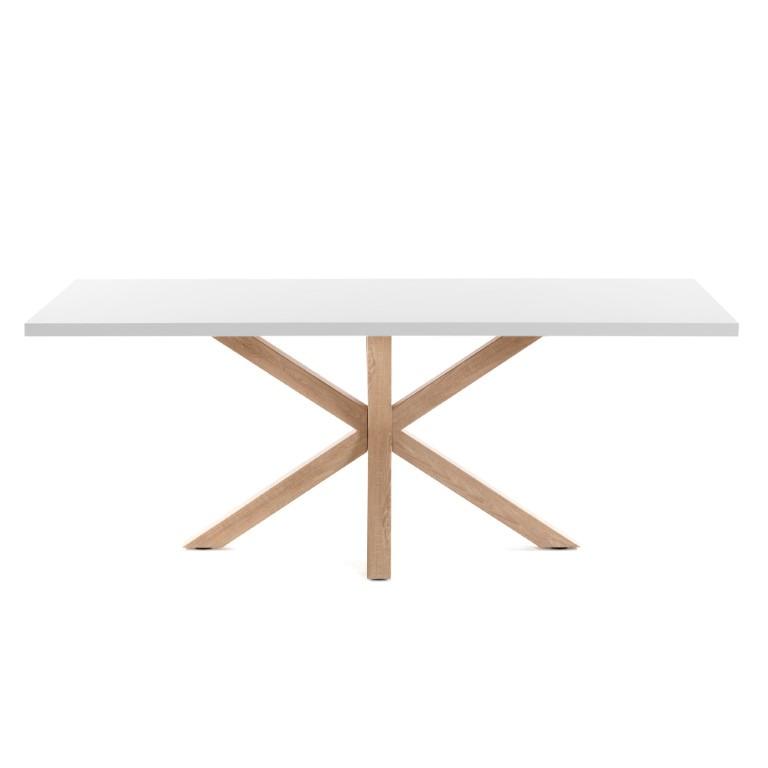 Table Arya | 180 x 100 cm Melamine White Finish Steel Legs