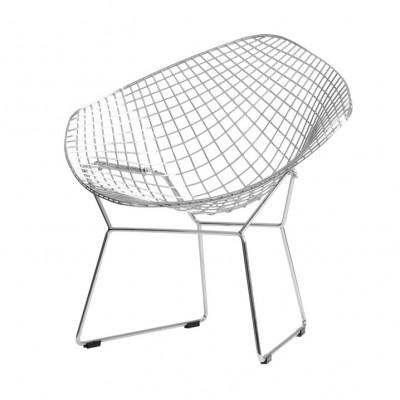 Stuhl Diament | Silber + Schwarzes Kissen