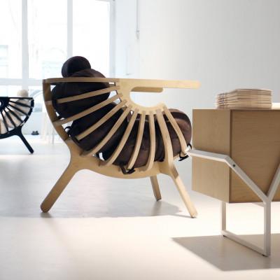 Stuhlschale | Natur + Leder Kissen