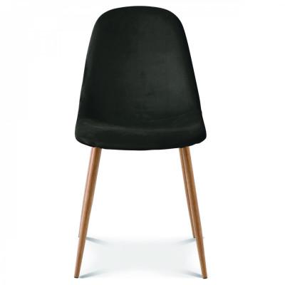 Stuhl Josef Velvet | Schwarz/Holz