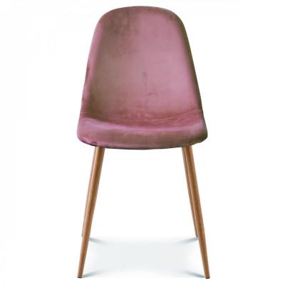 Stuhl Josef Velvet | Pink/Holz