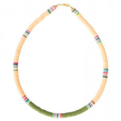 Halskette Charlie   Peach & Olive Green