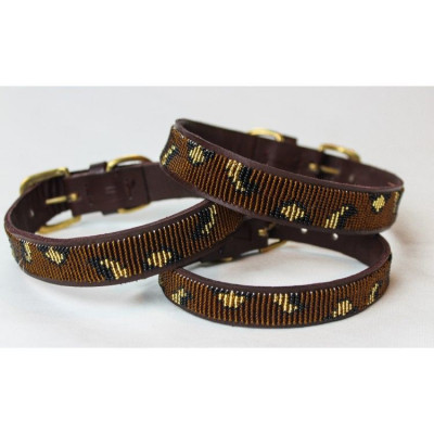 Cheetah Dog Collar Large | Brown Leather