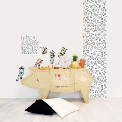 Eva Mouton Coloureable Wall Paper | Bird L