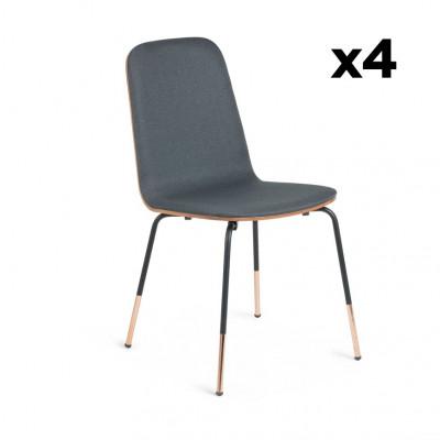 4er Set Stühle Chrystel   Dunkelgrau & Holz