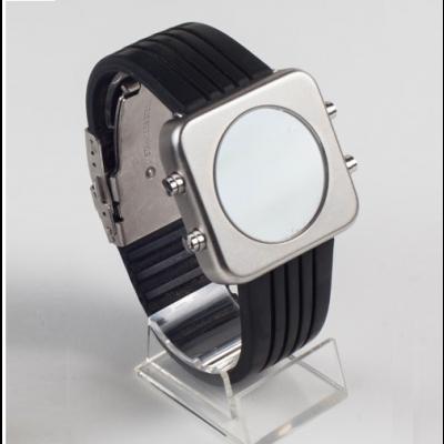 Circa Watch | Black, Silver Case, Racing Strap