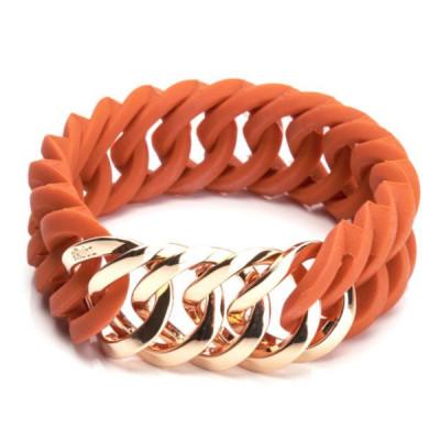 Circle Bracelet  25mm   Burned Orange & Rose Gold