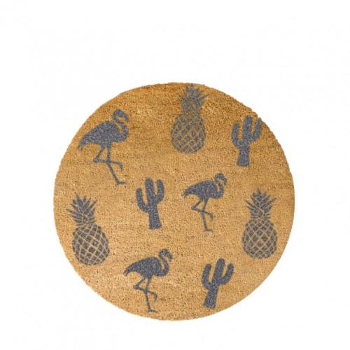 Kreisförmige Fußmatte   Ananasgrau