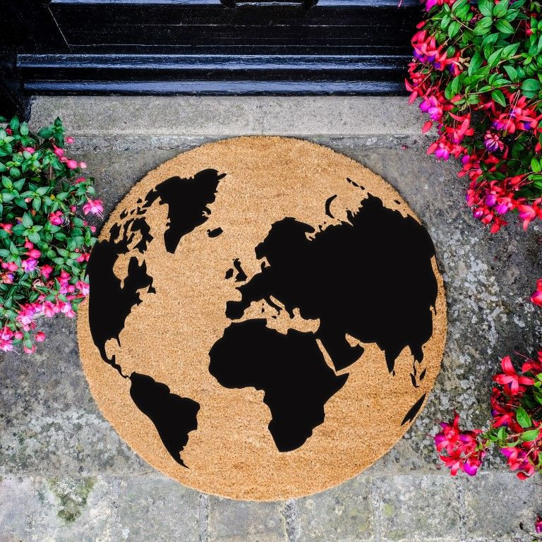 Circle Doormat   Globe Black