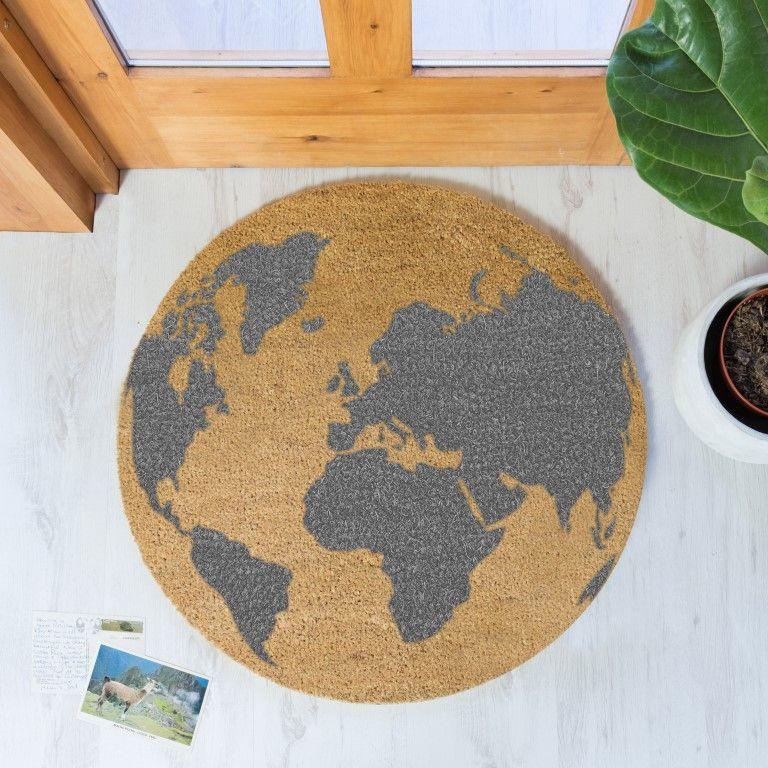 Kreisförmige Fußmatte | Globusgrau