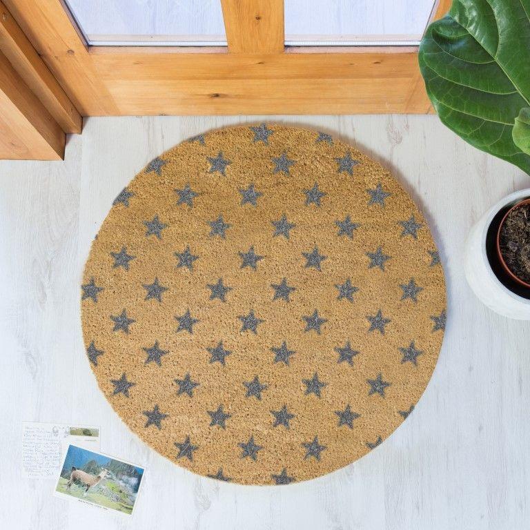 Kreisförmige Fußmatte | Sterne Grau