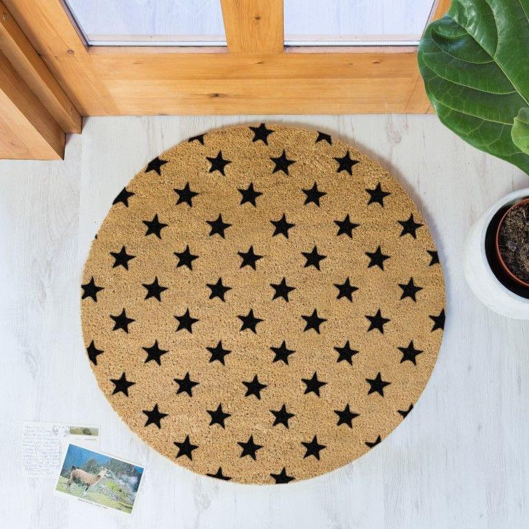 Kreisförmige Fußmatte | Sterne Schwarz
