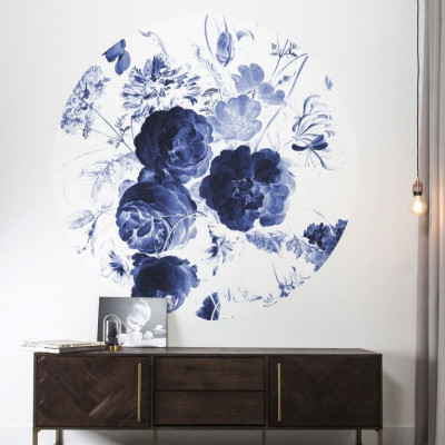 Wall Poster 190 cm | Royal Blue Flowers