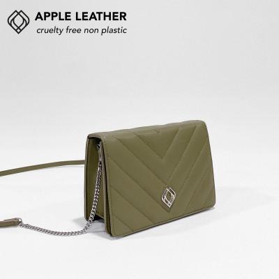 Clutch - Apfel-Leder Stiche   Olivgrün