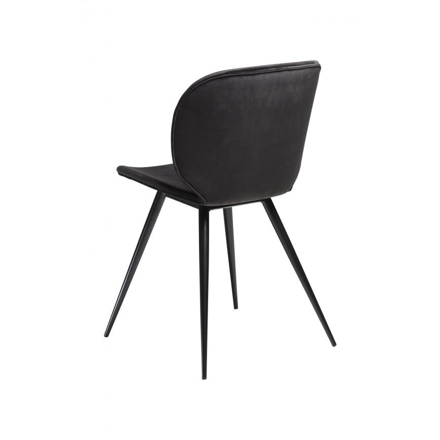 2er Set Stühle Cloud | Meteorit Schwarzer Samt & Schwarze Beine