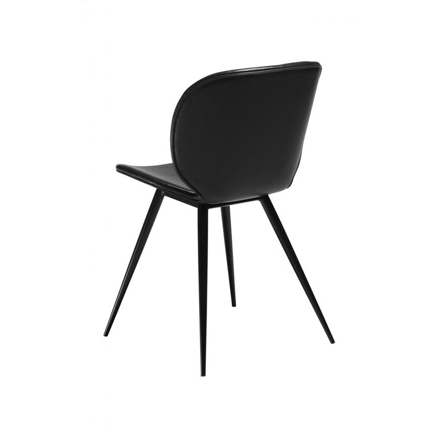 2er Set Stühle Cloud | Schwarzes Vintage-PU-Leder & Schwarze Beine