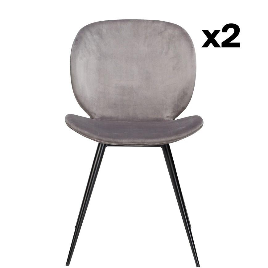 2er Set Stühle Cloud   Alu Samt & Schwarze Beine