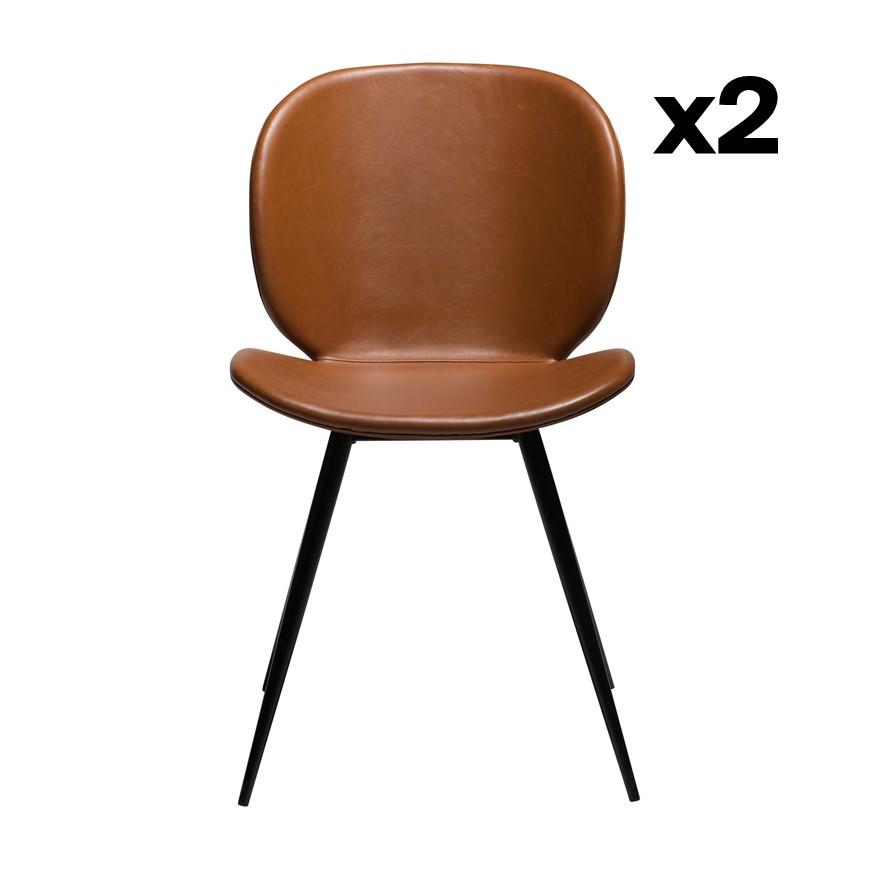 Set of 2 Chairs Cloud | Vintage Light Brown PU Leather & Black Legs