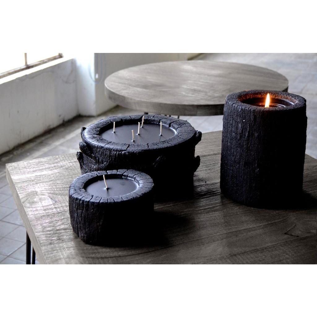 Palmenholz-Kerzenständer schwarz einfach | Vanille/Patchouli