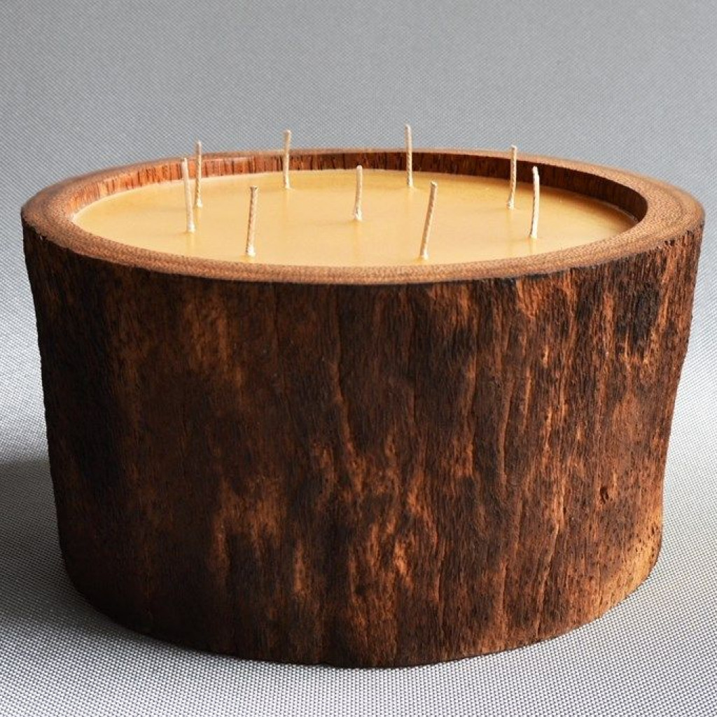 Palmenholzkerze Natur/Mehrfachdochte   Honigduft