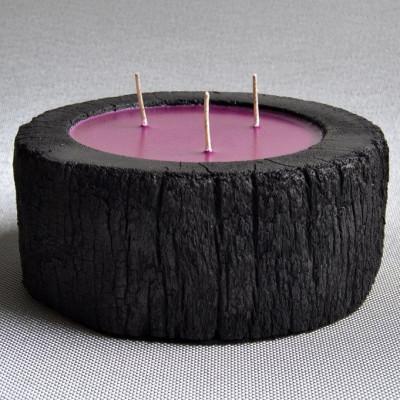 Palm Wood Kerze Schwarz/3 Dochte- Weißer Moschusduft