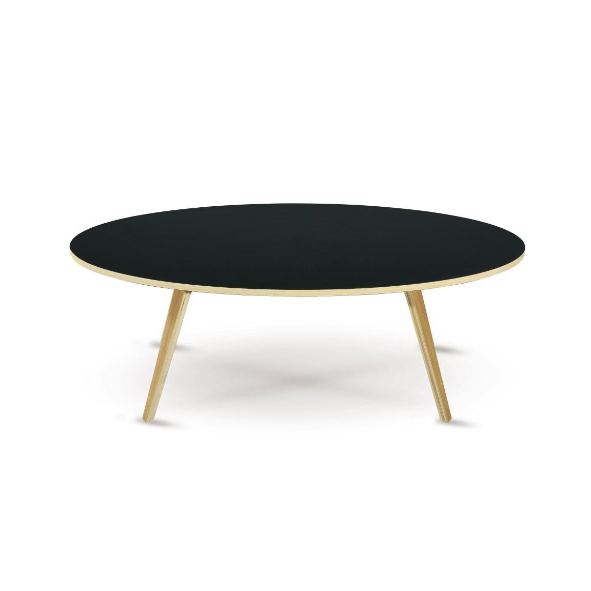 Coffee Table Arvika Oval | Black + Oak Veneer Legs