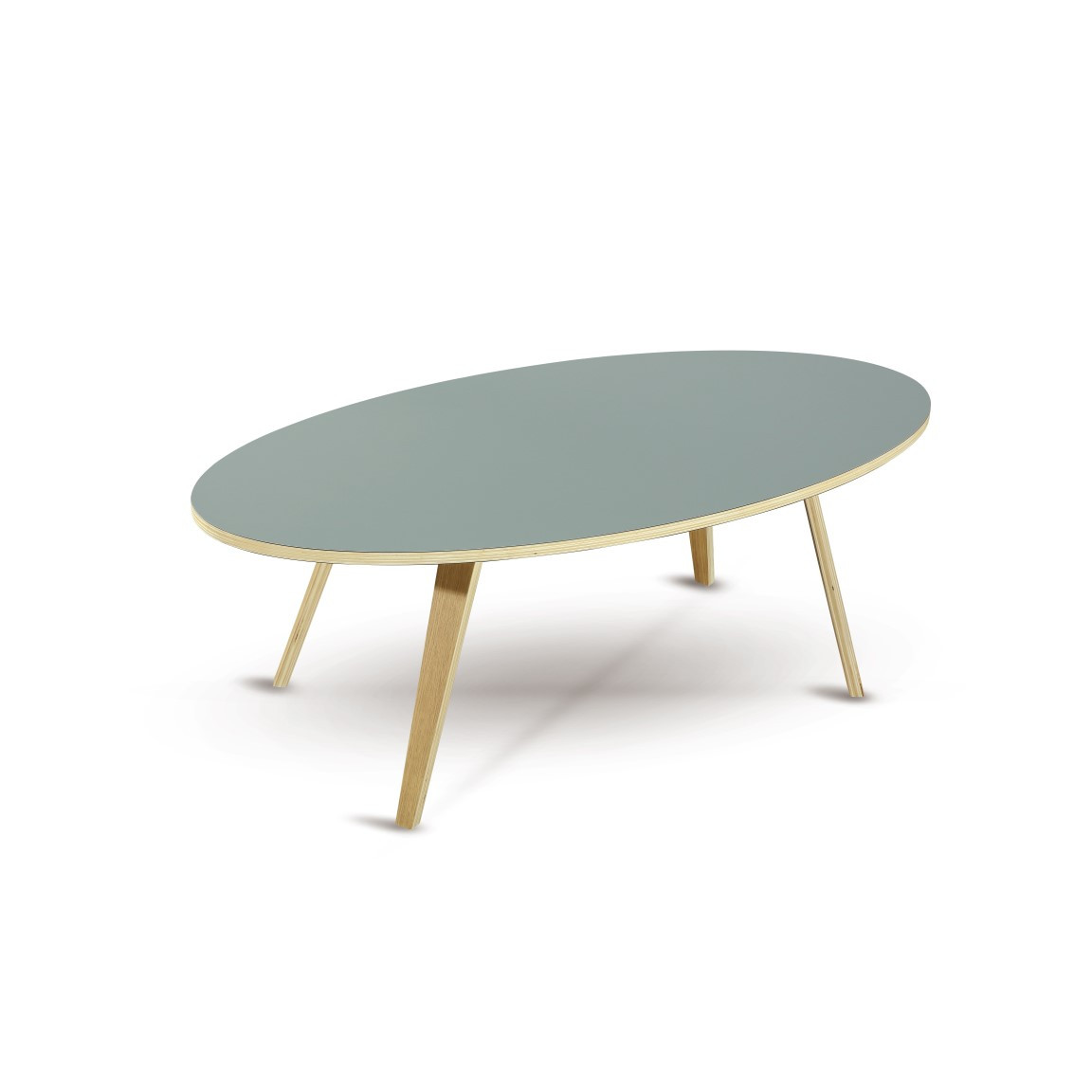 Coffee Table Arvika Oval | Grey + Oak Veneer Legs