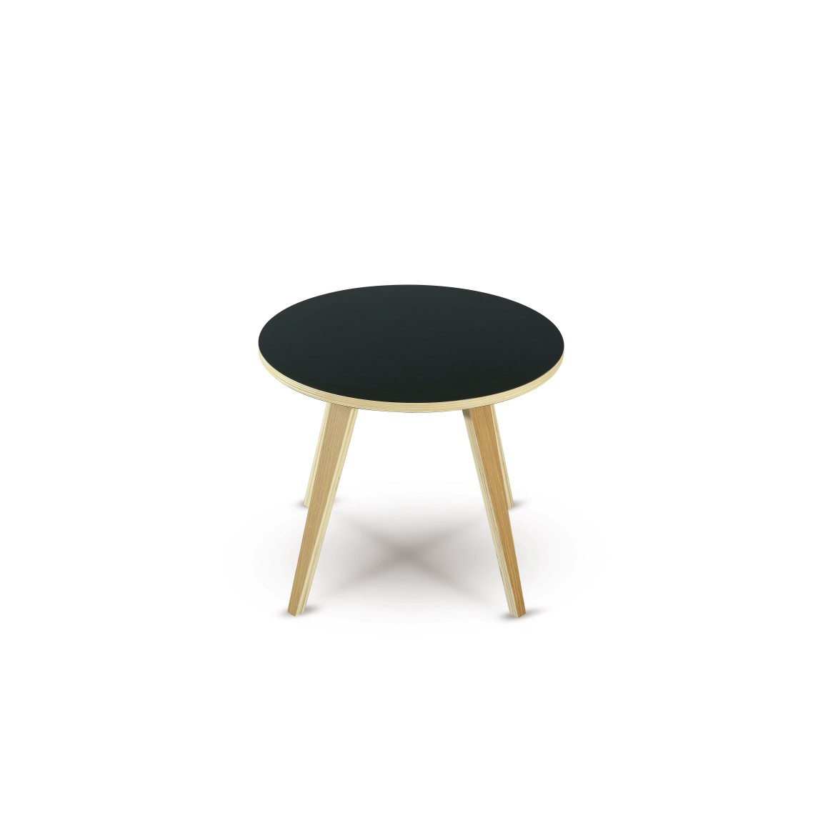 Side Table Arvika Round | Black + Oak Veneer Legs