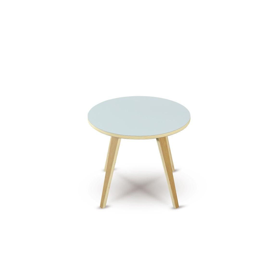 Side Table Arvika Round | White + Oak Veneer Legs