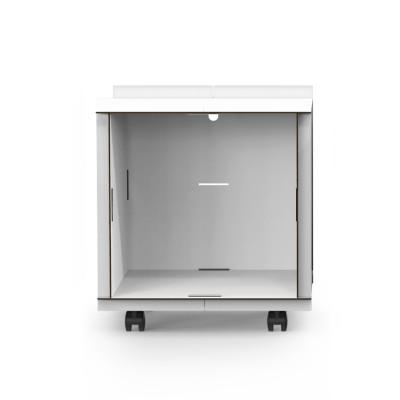 Offene Box auf Rädern mit Rückenwand comp_Aerkit | Weiß