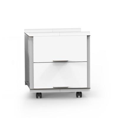 Doppelseitige Box mit Tür auf Rädern mit zwei Schubladen comp_Aerkit | Weiß
