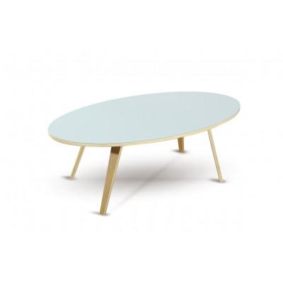 Kaffeetisch Arvika Oval | Weiß + Eiche Furnier Beine
