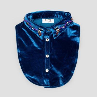 Kids Collar   Blue Velvet Flower